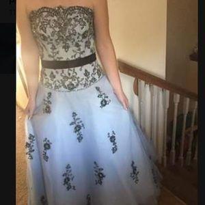 Tiffany Designs Dresses - Tiffany light blue and black prom dress
